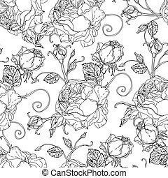 flowers and butterflies - Adult coloring book style Seamless...
