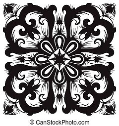 Hand drawing pattern for tile in black and white colors.