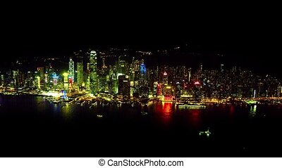 Hong Kongs Crowded Cityscape at Night, from Above -...