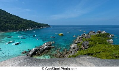 Overlooking Shot of a Tourist Beach on Koh Similan,...