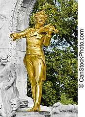 Vienna, Austria - Vienna\'s Johann Strauss statue located at...
