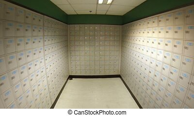 Long Corridor of Post Office Boxes in Retrograde. Video...
