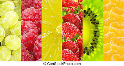Healthy food background Collection with different fruits and...