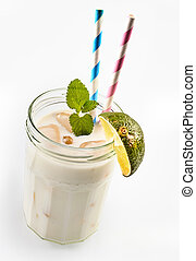 Coco loco smoothie with lime - Single screw top glass jar as...