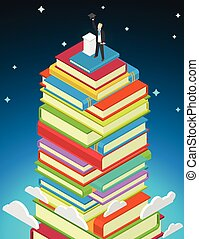 Success Education concept. Books stack and student with...