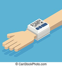 Blood pressure monitor on hand.