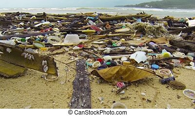 Assorted Litter and Debris Strewn along a Tropical Beach -...