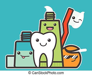 Best friends of healthy tooth. Hygiene concept. Funny vector...