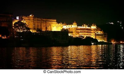 City palace in Udaipur at night India, Rajasthan - City...