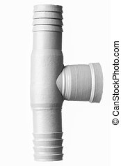 Isolated White T Pvc Pipe Fitting, Studio Shot, White...