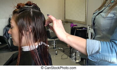 Stylist wets the hair and mows - Hairdresser sprays water...