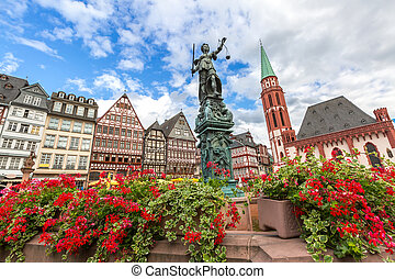 Frankfurt old town with the Justitia statue Germany