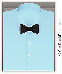 Blue shirt and bow tie in box on a white background