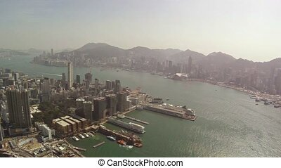 Overlooking View of Hong Kongs Harbor and Cityscape Video...