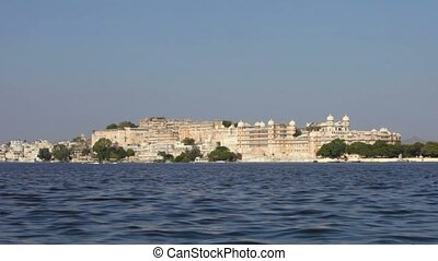 City palace in Udaipur India, Rajasthan - Video 1080p - City...