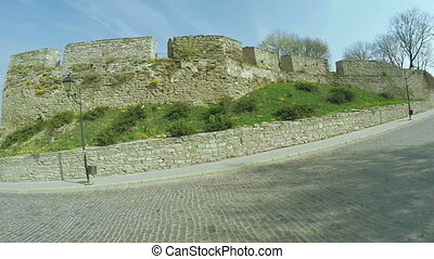 Stone wall of an ancient castle - Part of fortress walls Old...