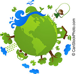 Green planet - Globe with cute eco icons