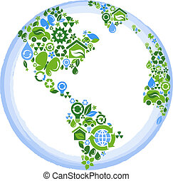 Eco concept planet - globe outline compose of green and blue...