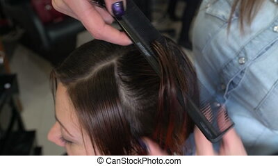 Stylist cutting hair tips - The stylist cuts the hair of a...