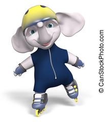 Roller skater elephant 3d rendering - Roller skater elephant...