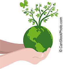 Tree globe - Green globe with a tree