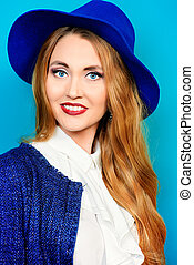 cheerful young woman - Fashion shot of the elegant young...