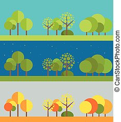 Different wheather flat design illustrations set