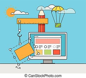 Web site constructor vector illustration Web design concept