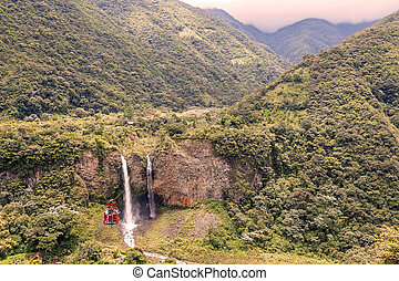Bridal Veil Waterfall - Banos, Ecuador - 17 March 2015:...