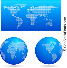 Blue map and two globes