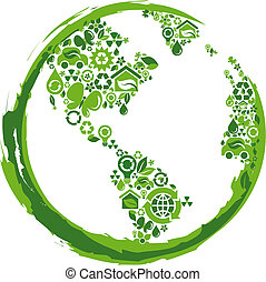 Eco concept planet - 2 - globe outline compose of green...