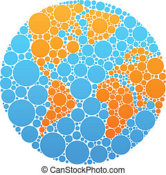 Blue and orange circle globe - Globe outline made from blue...