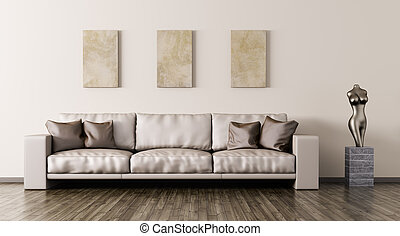 Modern interior with sofa 3d rendering - Modern interior of...