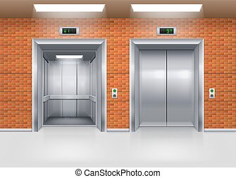 Elevator Doors - Open and Closed Metal Elevator Doors in a...