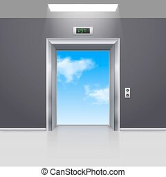 Elevator Doors - Realistic Empty Modern Elevator to the Blue...