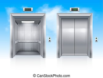 Elevator Doors - Open and Closed Modern Metal Elevator Doors...