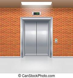 Elevator Doors - Realistic Metal Elevator with Closed Door...