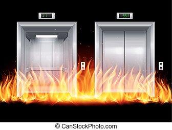 Elevator Doors - Open and Closed Modern Metal Elevator Doors...
