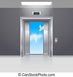 Elevator Doors - Half Open Chrome Metal Elevator Door and...