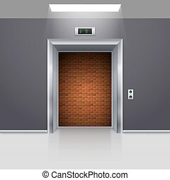 Elevator Doors - Realistic Elevator with Open Door with...