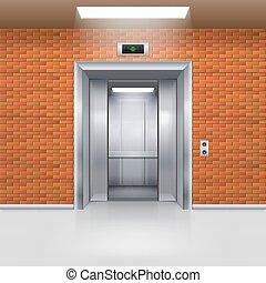 Elevator Doors - Half Open Metal Elevator Door in a Brick...