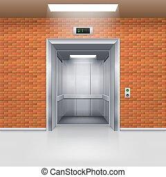 Elevator Doors - Realistic Empty Elevator with Open Door in...