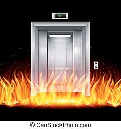 Elevator Doors - Half Open Chrome Metal Elevator Door in...