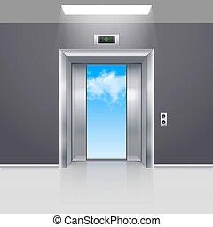 Elevator Doors - Half Open Metal Elevator Door to the Blue...