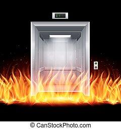 Elevator Doors - Realistic Empty Modern Elevator Door in...