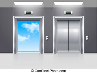 Elevator Doors - Open and Closed Metal Elevator Doors to the...