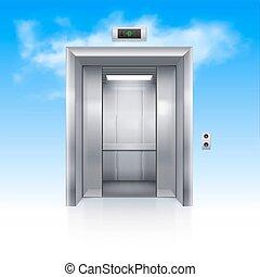 Elevator Doors - Half Open Chrome Metal Elevator Door in Sky