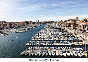 Aerial panoramic view on old port in Marseille