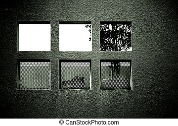 Alcove with windows - A niche with square holes and plants...