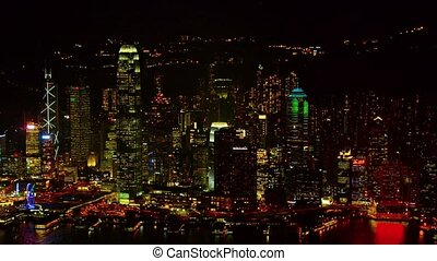 Hong Kongs Dramatically Lit Urban Skyline at Night Video...